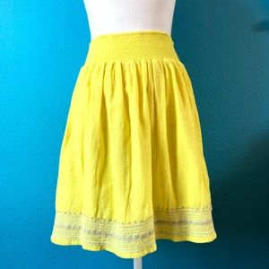 Old Navy yellow boho embroidered skirt